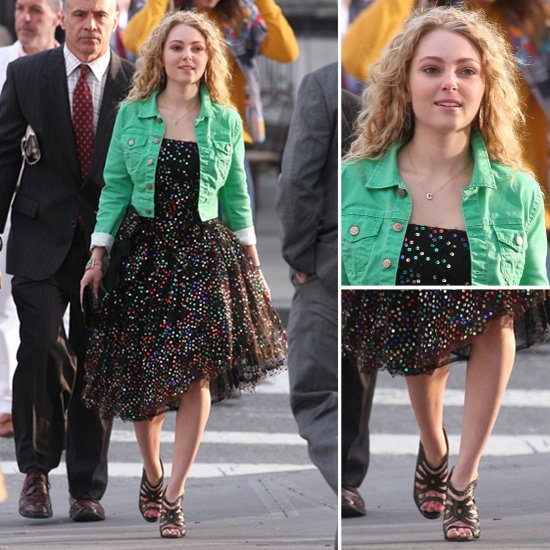 Carrie-styled-green-denim-jacket-over-her-printed-party-dress